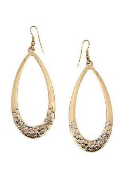 White Diamond Gold Teardrop Dangle Earrings