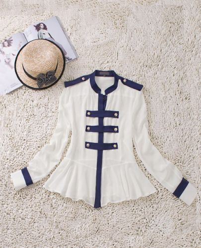 White High Neck Long Sleeve Double Breasted Silk Shirt