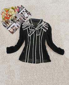 Black V Neck Long Sleeve Bow Striped Silk Shirt