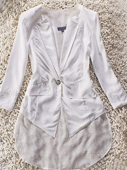 White Long Sleeve One Button Swallowtail Dipped Hem Coat