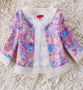 Purple Embroidered Floral Print Organza Crop Coat