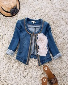 Blue Denim Zip Flower Embellished Embroidered Cuffs Coat