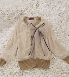 Khaki Long Sleeve Bow Front Contrast Knitted Trim Sheer Jacket
