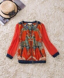 Orange Horse Tribal Print Zip Pockets Gold Chain Bomber Jacket