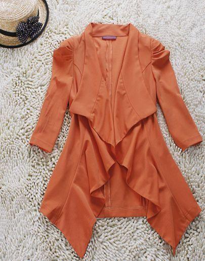 Orange Drape Collar Ruched Three Quarter Length Sleeve Blazer