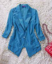 Blue Notch Lapel Three Quarter Sleeve Pockets Blazer