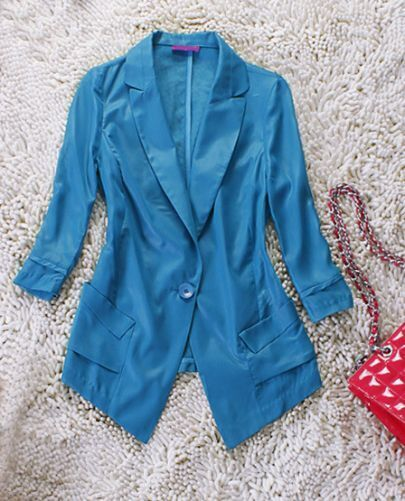 Blue Notch Lapel Three Quarter Sleeve Pockets Blazer
