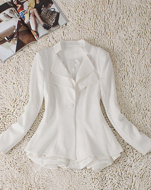 White Double Lapel Long Sleeve Peplum Blazer