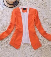 Orange Long Sleeve Contrast Pleated Back Open Blazer