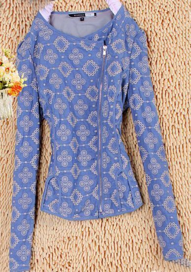 Blue Cotton Long Sleeve Eyelet Floral Embroidered Zip Blazer