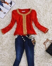 Red Beaded Lace Embroidered Tassel Bottom Long Sleeve Blazer