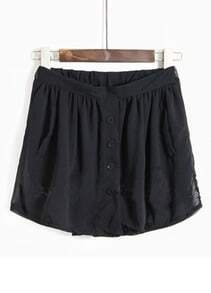 Black Draped Elasic Waist Pockets Front Short Pant