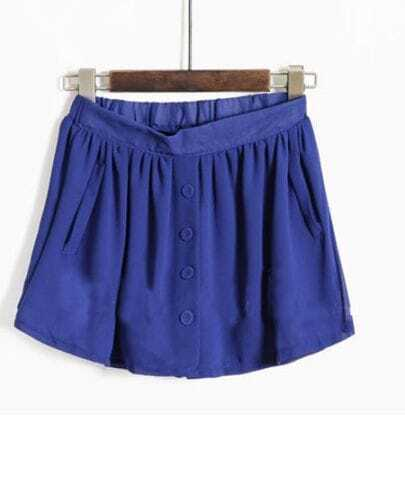 Blue Pleated Pockets Buttons Front Skirt Shorts