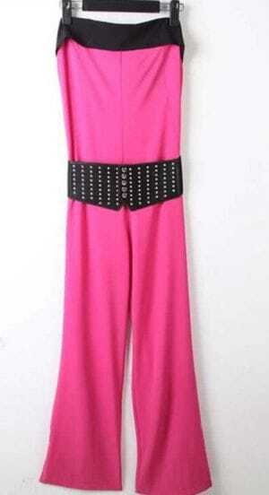 Rose Red Tube Studded Embellished Belted Flared Jumpsuit