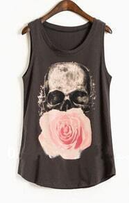 Navy Paintily Skull and Rose Print Sleeveless Tank Top