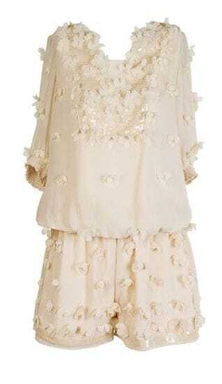 Ivory Floral Applique Silk Blouse with Cuffed Shorts