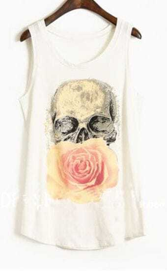 White Paintily Skull and Rose Print Sleeveless Tank Top