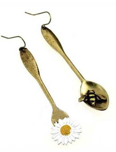 Bronze Bee And Flower Metal Spoon Dangle Earring