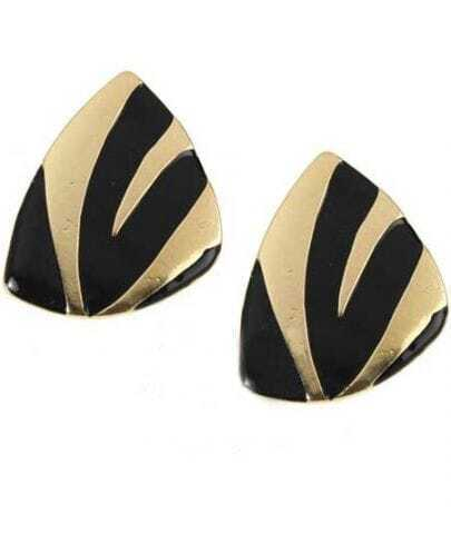 Black Silver Strip Triangle Clip On Earring