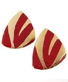 Red Gold Strip Triangle Clip On Earring