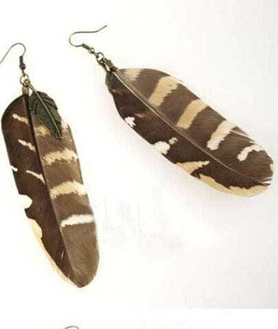 Brown Feather with Leaves Dangle Earring