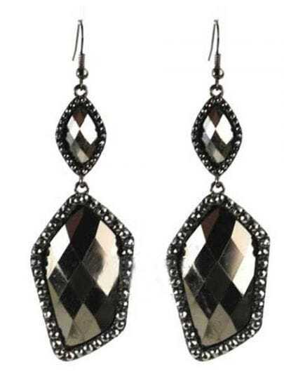Black Crystal Polygon Drop Dangle Earrings