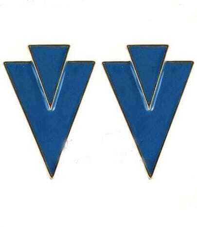 Blue Two Inverted Triangular Clip On Earring