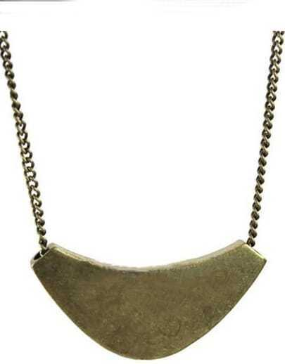 Bronze Curved Metal Collar Necklace