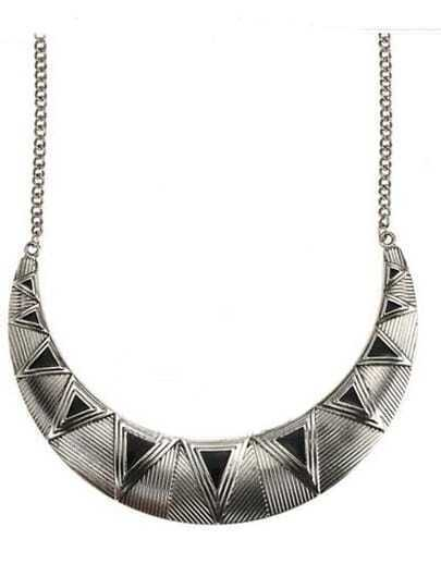 Silver Stripe Triangle Print Metal Collar Long Necklace