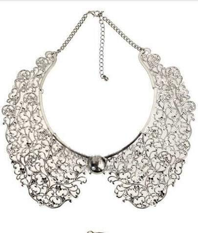 Silver Hollowed Carving Detachable Collar Necklace