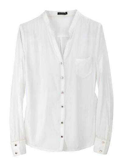 White Vintage V Neck Long Sleeve Single Breasted Shirt