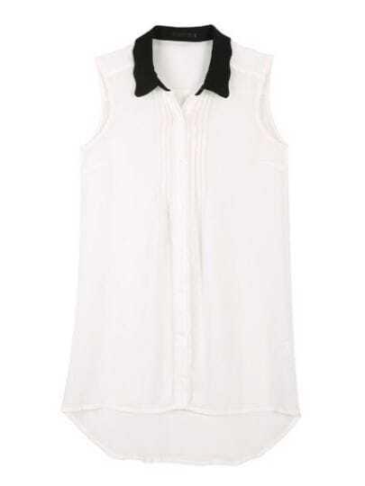 White Lapel Sleeveless Pleated Polyester Shirt