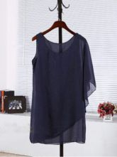Black Round Neck One-Shoulder Loose Chiffon Shirt