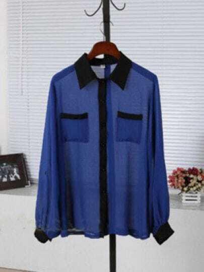 Blue Lapel Long Sleeve Single Breasted Chiffon Shirt