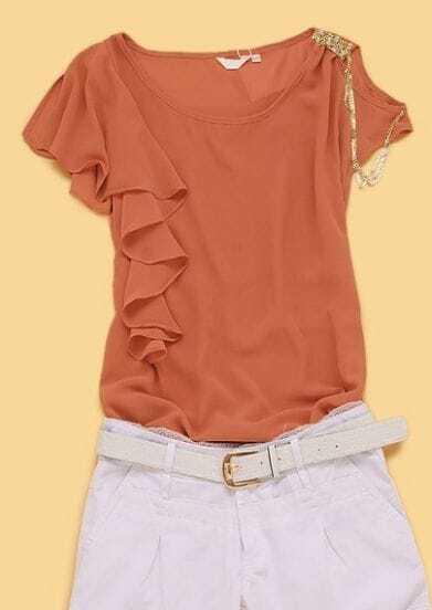 Pink Round Neck Short Sleeve Off the Shoulder Ruffles Chiffon Shirt