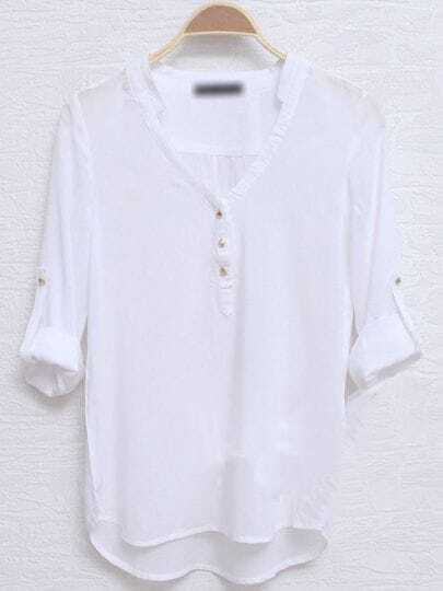 White Street V Neck Half Sleeve Loose Cotton Shirt