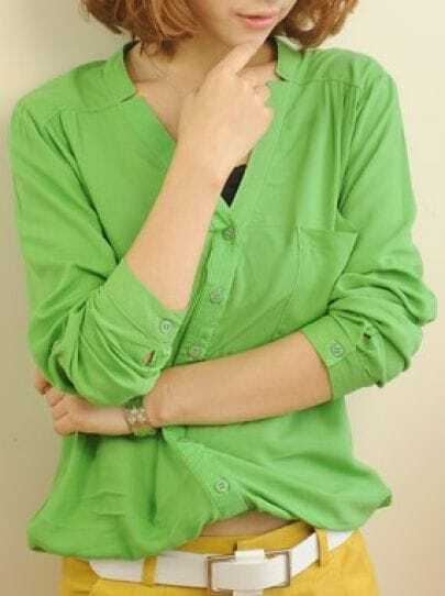 Green V Neck Long Sleeve Single Breasted Pleated Cotton Blends Shirt