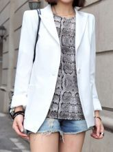 White Lapel Long Sleeve Single Button Chiffon Suit