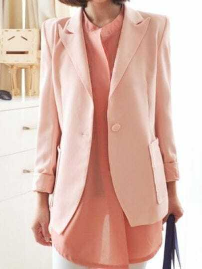 Pink Lapel Long Sleeve Single Button Chiffon Suit