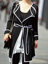 Black Long Sleeve Contrast White Trims Chiffon Trench Coat