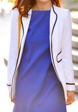 White Lapel Long Sleeve Pockets Slim Suit