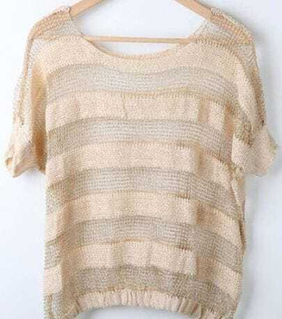 Ivory Contrast Stripe Short Sleeve Sheer Mesh Stitch Sweater
