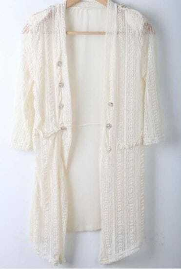 Ivory Pad Shoulder Cardigan Half Sleeve Knit Sweater