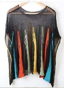 Black Rainbow Stripe Batwing Sleeve Distressed Mesh Stitch Sweater