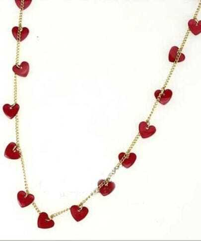 Red Hearts Charm Gold Alloy Long Necklace