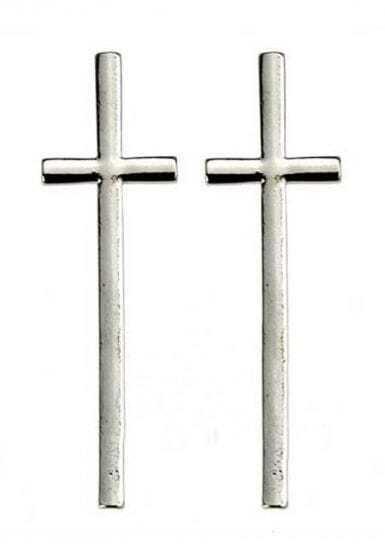 Silver Large Cross Stud Earrings