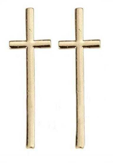 Gold Large Cross Stud Earrings