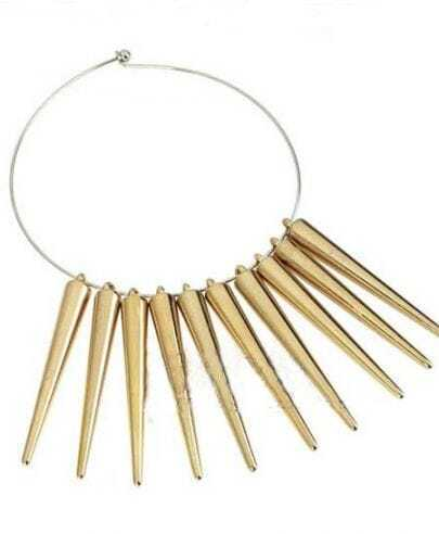Gold Spkies Circle Collar Necklce