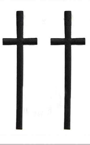 Black Large Cross Stud Earrings