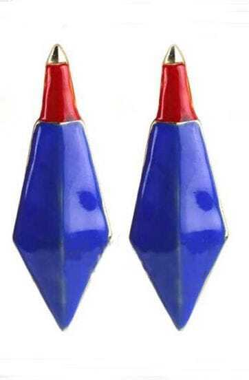 Blue Red Pointed Bullet Stud Earrings